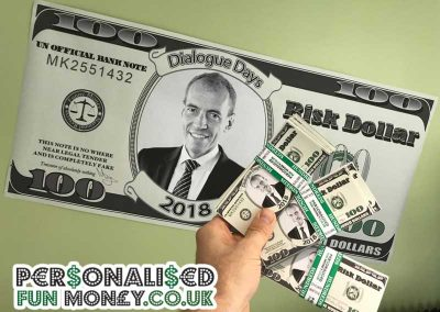 Customized dollar bills with logo or photo