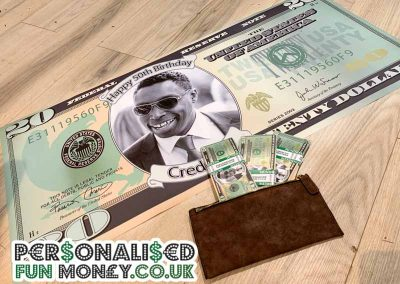 Personalised giant dollar bill with your photo