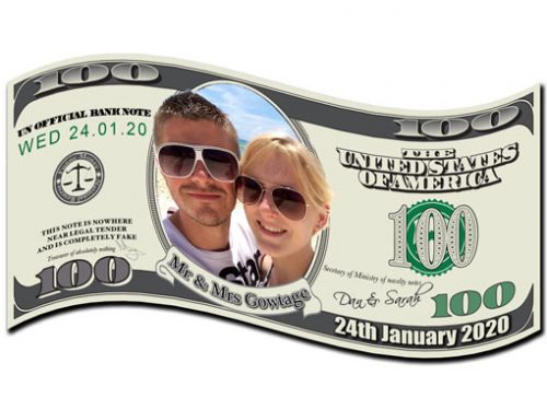 Personalised Dollar Bills with your own photo and wording
