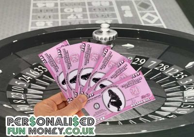 Customised Pink Dollar Bills with wording and your photo
