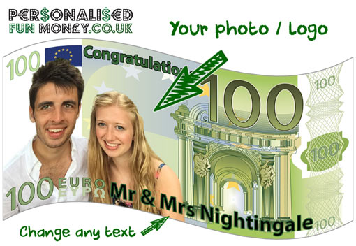Put your photo on our personalised Euro Bank Notes