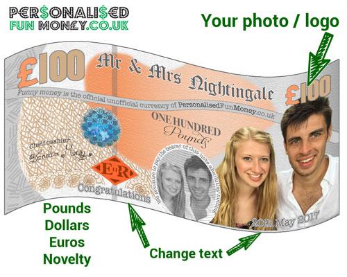 Example of bespoke dollar bills fun money