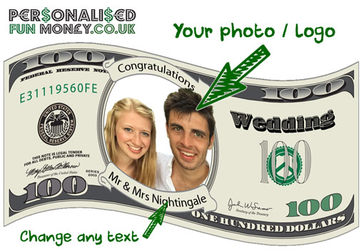 US Dollar Bills with your photo on