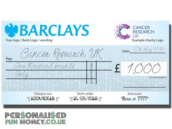Giant Personalised Cheques Personalised Fun Money