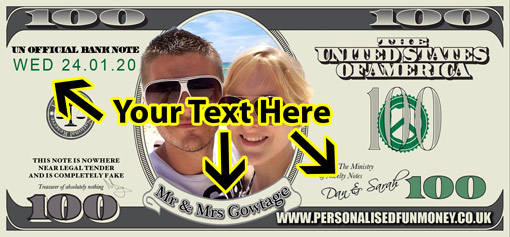 Personalise the text on your Personalised Dollars