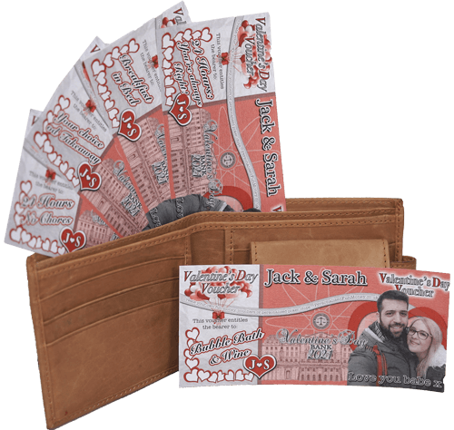 Customised Valentines Day Vouchers with your own photo.