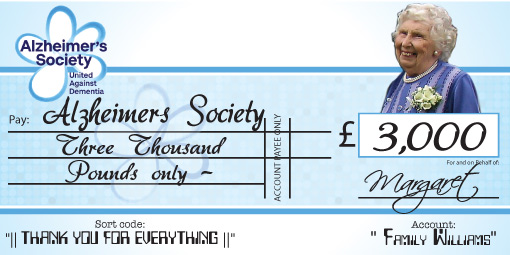 Example of Alzheimers Society Charity Cheque