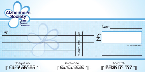 Alzheimers Society Presentation Cheque
