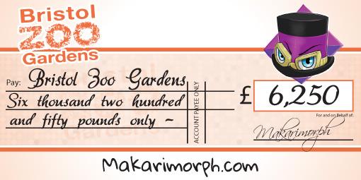 bristol zoo charity donation cheque