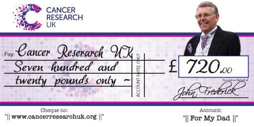 cancer research donation charity cheque
