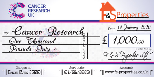 Personalised charity cheque with your wording