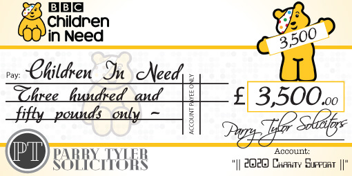 children in need charity cheque