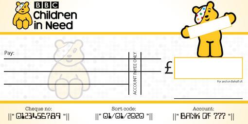 Children In Need Presentation cheque