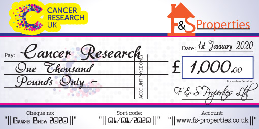 Charity logo at the top of the Cheque