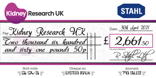 kidney research charity cheque