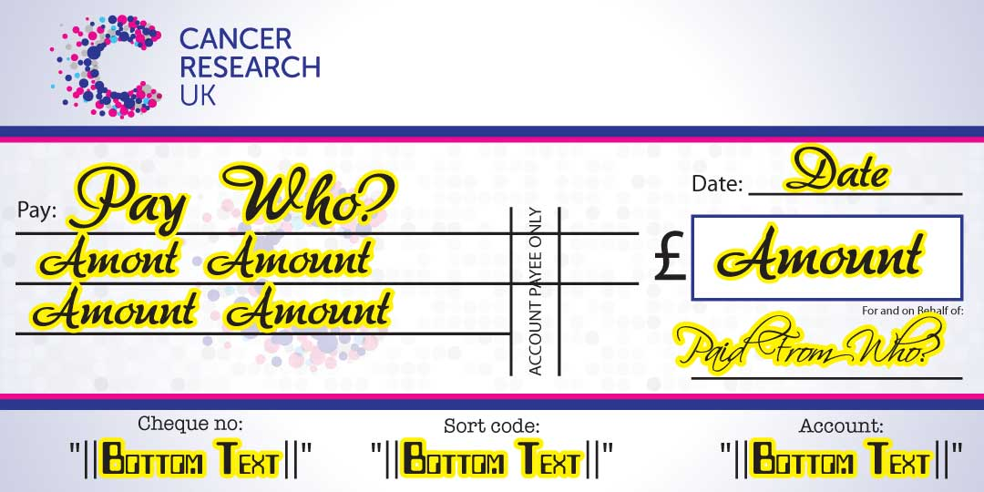 Photo of Large Charity Cheque showing what detail you can change
