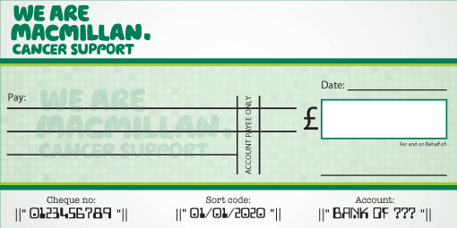 Macmillan Cancer Support Donation cheque