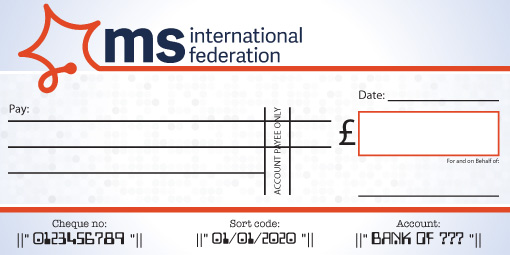 MS International Federation donation cheque