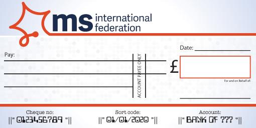 MS International Federation donation cheque