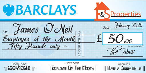 Personalised presentation cheque