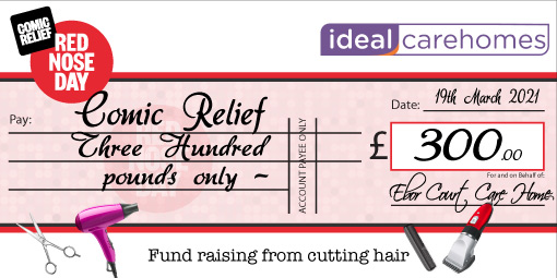 Red Nose Day donation cheque