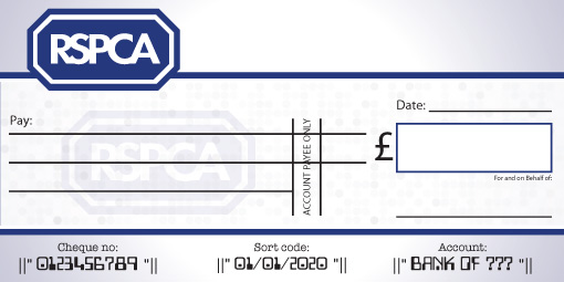 RSPCA donation cheque