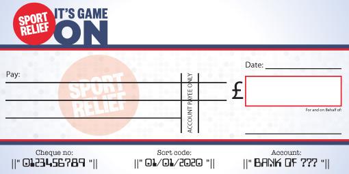 Sport Relief donation cheque