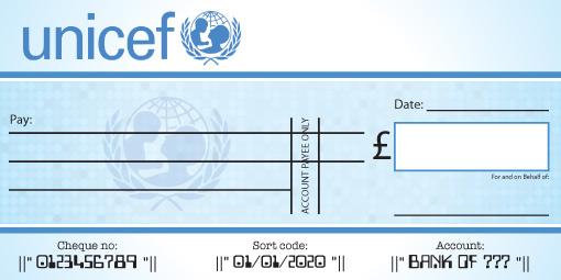 Unicef Presentation Cheque
