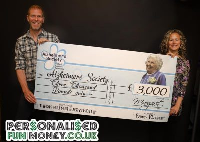 Alzhimers Charity Cheque