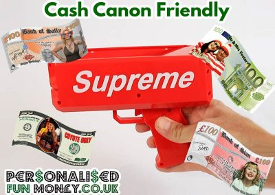 Cash Cannon Money, bespoke with your photo or logo
