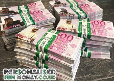 Customized Euro bank notes