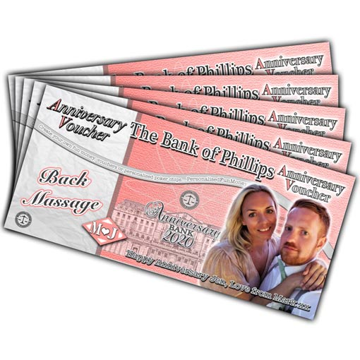 Personalised Anniversary Vouchers with your bespoke photo and customised wording