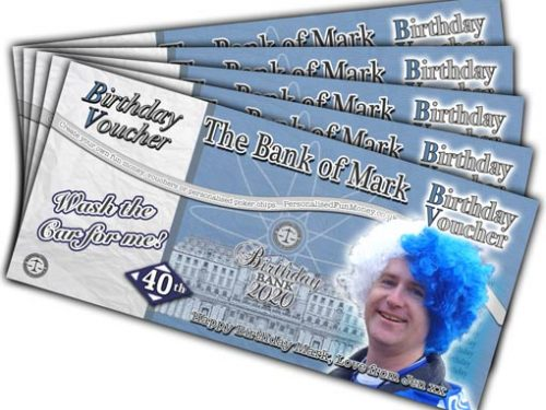 Bespoke, customised Birthday Vouchers with your photo and choice of wording
