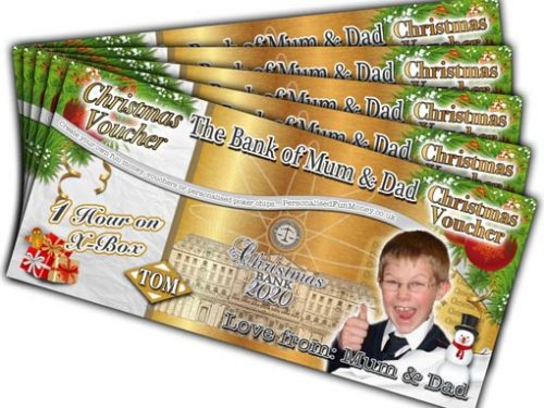 Personalised Christmas Vouchers with bespoke photo and, customised wording