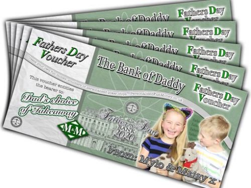 Personalised Fathers Day Vouchers with your bespoke photo and customised wording