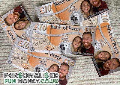 Wedding fun money pound notes with your photo