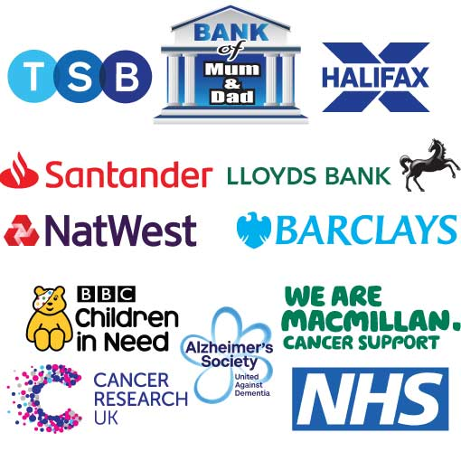 Big Cheque, choose your bank and charity logo