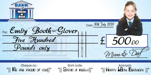 Giant Cheque personalised with your own photo and wording.