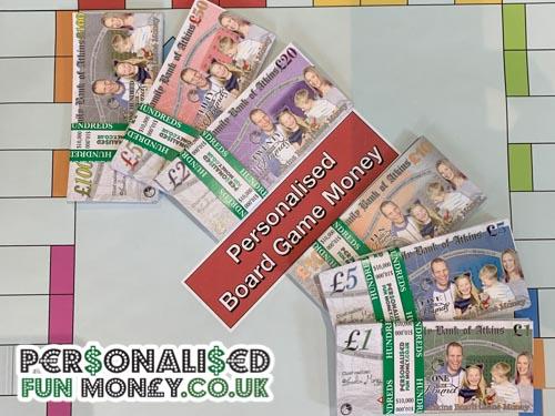 Personalised board game money