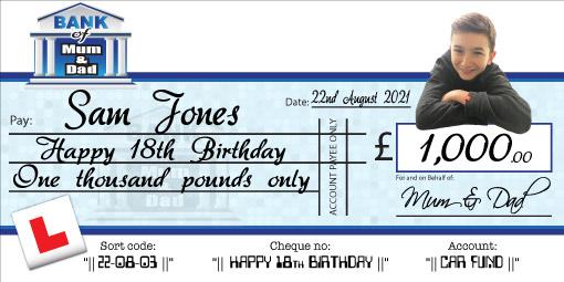Birthday cheque for 18th, 21st Birthday